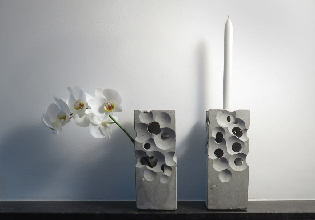 concrete candleholder vase