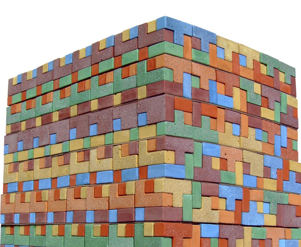 coloured concrete mosaic puzzles
