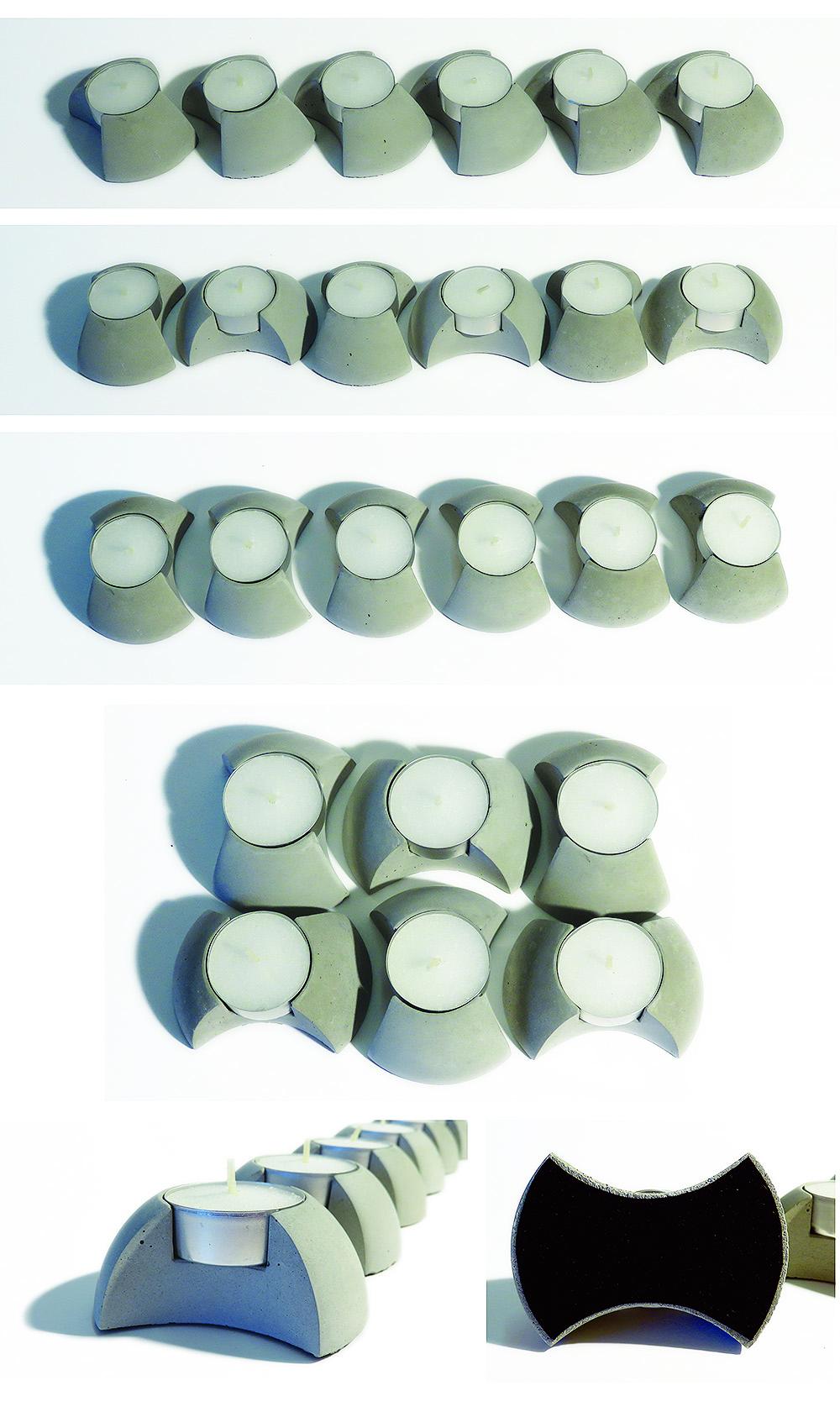 concrete candleholder giftbox, theelichthouder beton