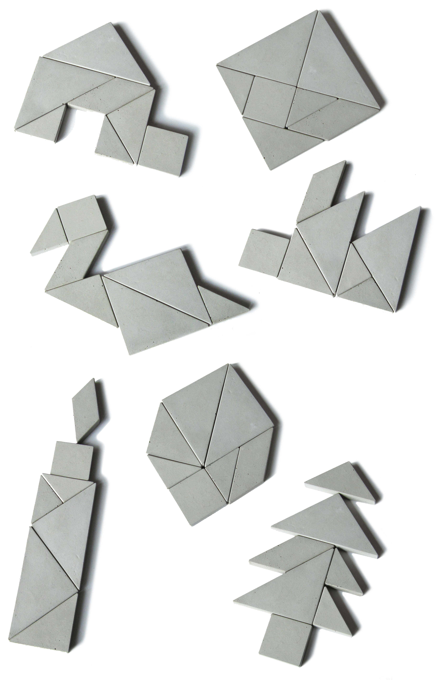 concrete puzzle Tangram solutions, Tangram van beton