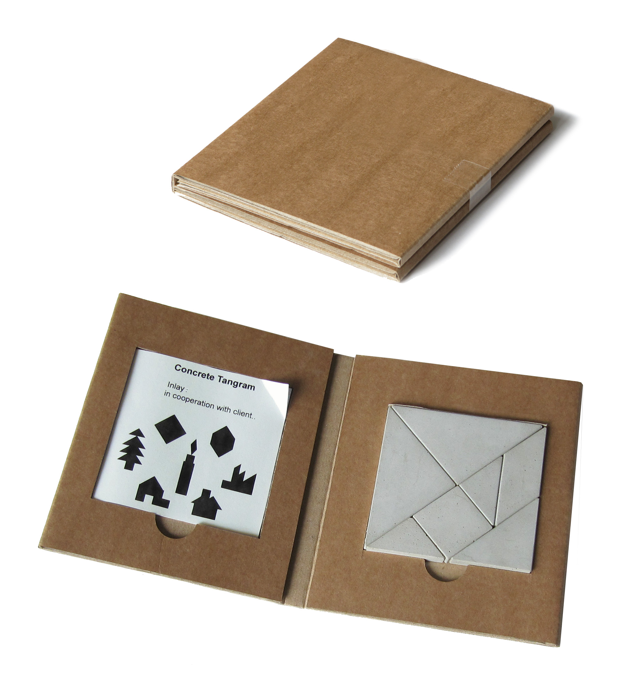 concrete puzzle Tangram packaging, Tangram van beton